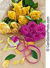 świeży, barwny, róże
