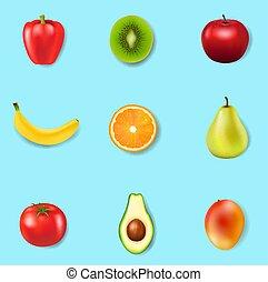świeży, barwny, tło, owoce