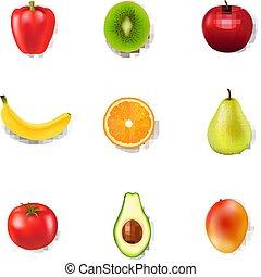 świeży, białe tło, owoce