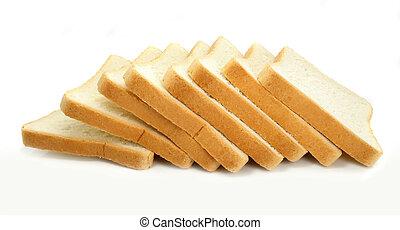 świeży, biały, cięty, tło, bread