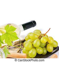 świeży, biały grape, butelka, wino