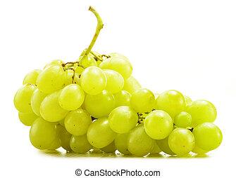 świeży, biały, odizolowany, winogrona, grono
