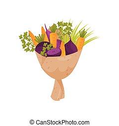świeży, bukiet, robiony, od, burak ćwikłowy, cebula, pietruszka, gałązki, i, carrot., dojrzały, warzywa, zawinięty, w, paper., płaski, wektor, ikona