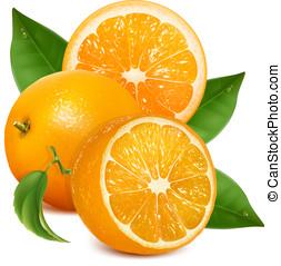 świeży, dojrzały, pomarańcze, leaves.