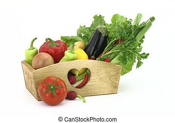 świeży, drewniany, warzywa, pełny, boks