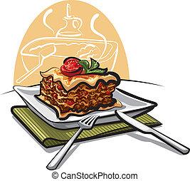 świeży, lasagna, upieczony