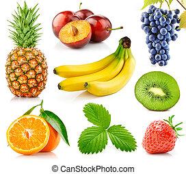 świeży, liście, komplet, zielony, owoce