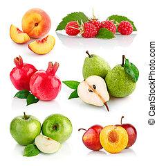 świeży, liście, zielony, owoce