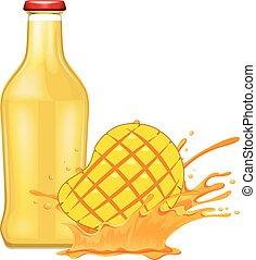 świeży, mangowiec, sok