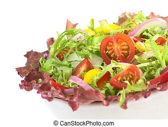 świeży, mieszana sałata, z, red-leaf, sałata, kędzierzawa cykoria, (frisee), wiśniowy pomidor, czerwona cebula, ogórek, i, czerwony i żółty, dzwonowy pieprz, w, biały, puchar, na białym, (selective, ognisko, ognisko, na, przedimek określony przed rzeczownikami, wiśniowy pomidor, ha