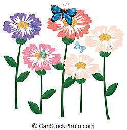 świeży, motyle, kwiaty