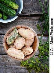świeży, organiczny, kartofle