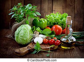 świeży, organiczny, warzywa
