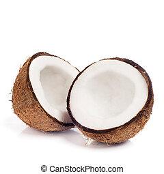 świeży, orzech kokosowy, biały, odizolowany, tło