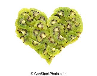 świeży, owoc kiwi, serce
