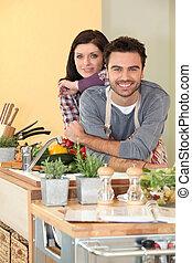 świeży, para, warzywa, przygotowując