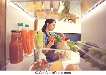 świeży plon, otwarty, chłodnia, vegetable.