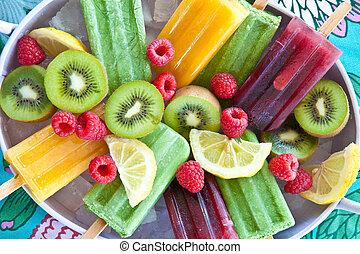 świeży, popsicles, barwny, owoce