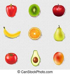 świeży, przeźroczysty, tło, owoce