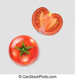 świeży, przeźroczysty, tło, pomidory