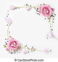 świeży, różowe róże, ułożyć, brzeg, odizolowany