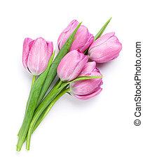 świeży, różowy, tulipan, kwiaty, bukiet