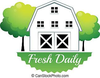 świeży, stodoła, codzienny, etykieta