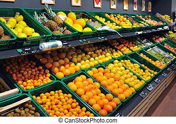 świeży, supermarket, owoce