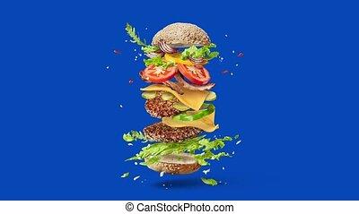 świeży, swojski, video, cheeseburger., taniec