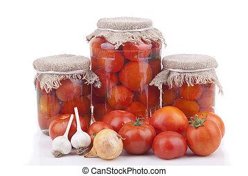świeży, tomatoes., w puszkach