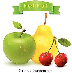 świeży, wektor, owoc