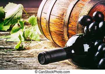 świeży, winogrono, czerwona butelka, wino