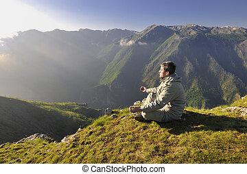 świeży, wschód słońca, na, góra