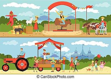 świeży, wyroby, targ, wektor, organiczny, sprzedajcie, dobytek, rolnik, zagroda, zbiór, ilustracja, jadło, miejscowy