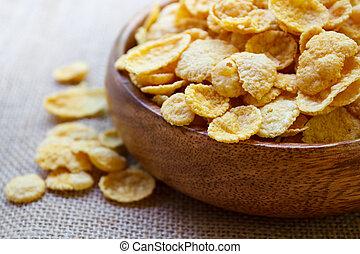 świeży, zboże, cornflakes.