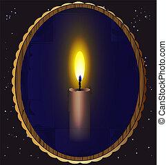 świeca, lustro