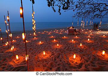 świeca, obiad, plaża, romantyk, morze