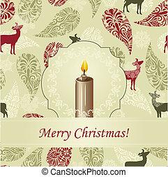 świeca, wektor, powitanie karta, boże narodzenie