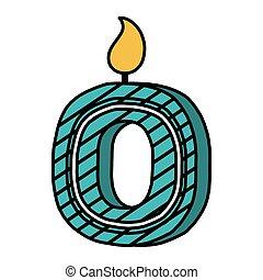 świeca, zero, urodziny, liczba