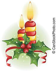 świece, boże narodzenie, ostrokrzew