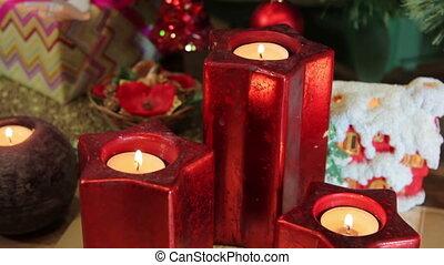 świece, drzewo, dookoła, boże narodzenie