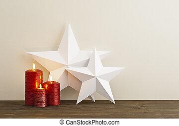 świece, dwa, gwiazdy, czerwony