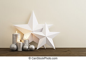 świece, dwa, gwiazdy, srebro