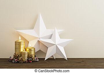 świece, gwiazdy, dwa, złoty