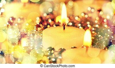 świece, loopable, światła, bokeh, tło, boże narodzenie