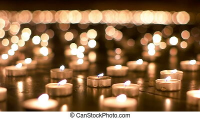 świece, powoli, do góry, płonący