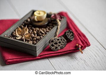 świece, w, przedimek określony przed rzeczownikami, formułować, od, filiżanki kawy
