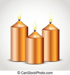 świece, wektor, ilustracja, złoty