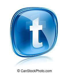 świergot, ikona, szkło, błękitny, odizolowany, na białym, tło