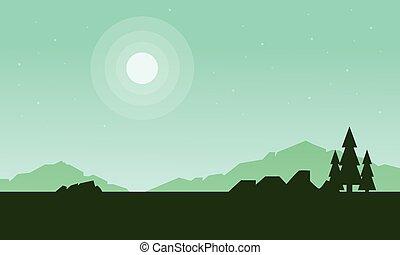 świerk, góra, sylwetka, krajobraz